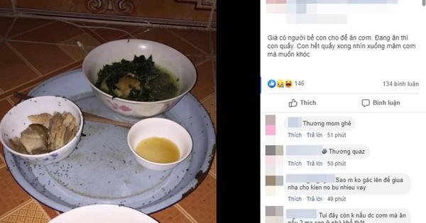 """Đang ăn phải buông đũa trông con quấy, lát sau mẹ trẻ quay ra thấy cảnh tượng kinh hoàng trên mâm cơm được """"để phần"""""""