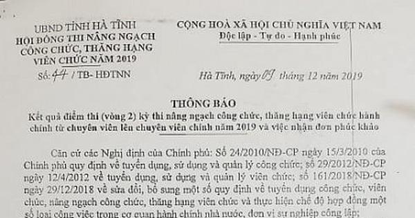 Chủ tịch huyện, phó giám đốc sở ở Hà Tĩnh thi trượt chuyên viên chính