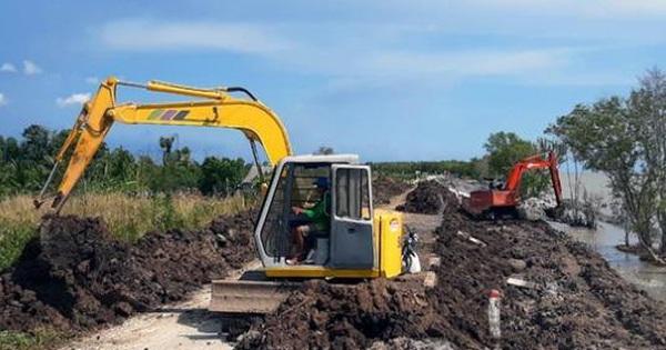 """Cà Mau """"rót"""" gần 100 tỷ đồng xử lý khẩn cấp tình trạng sụt lún đê biển Tây"""