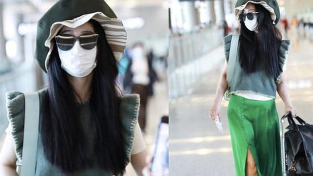 Phạm Băng Băng tiếp tục chơi nổi tại sân bay: Diện mũ to 'tổ chảng', trang phục khiến ai cũng phải thắc mắc