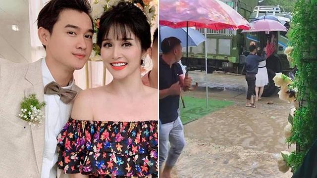 Khách mời đi đò, xe tải dự đám cưới Thảo Trang và chồng kém 8 tuổi vì mưa lũ