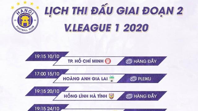 Hà Nội FC được hưởng lợi vì lịch thi đấu giai đoạn 2 V-League 2020