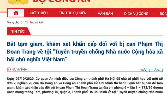 Bắt tạm giam bị can Phạm Thị Đoan Trang tại TP Hồ Chí Minh