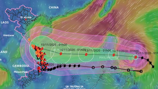 Bão Vamco dự kiến sáng 12/11 vào Biển Đông, sẽ đạt cường độ mạnh cấp 12, giật cấp 15
