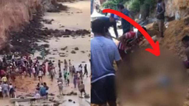 Đi nghỉ mát ở biển, cả gia đình 3 người chết thảm vì vách núi đổ sập xuống, tư thế của người mẹ khi tìm thấy xác khiến ai cũng đau xót