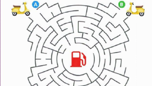Thách thức con mắt: Đố bạn tìm đường đến cây xăng trong mê cung rối rắm