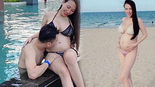 Bà xã Khắc Việt tự tin tung ảnh bikini ôm bụng bầu 6 tháng: Vòng 2 nhô lên lớn rõ nhưng body vẫn nóng bỏng quá!