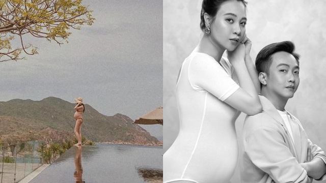 Chụp ảnh bầu ở mép bể bơi vô cực, Đàm Thu Trang khiến dân mạng lo lắng