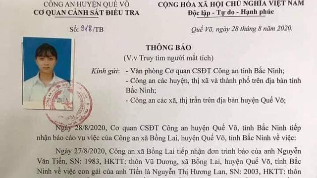 Tìm kiếm thiếu nữ mất tích sau khi ra khỏi nhà ở Bắc Ninh