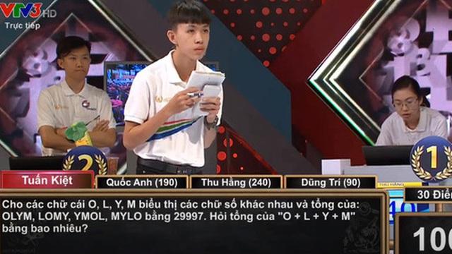 Câu hỏi chung kết Olympia đánh gục 4 thí sinh nhưng đáp án siêu dễ: 'Cho tổng OLYM+LOMY+YMOL+MYLO= 29997, hỏi tổng O+L+Y+M bằng bao nhiêu?'