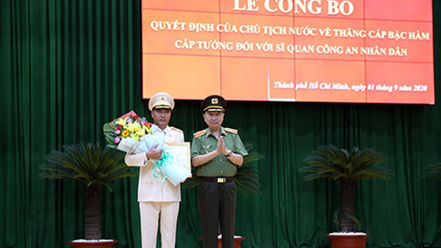Công bố quyết định của Chủ tịch nước phong hàm cấp tướng sĩ quan Công an nhân dân