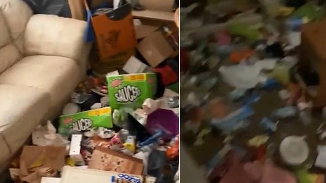 Nhận lại phòng trọ, chủ nhà kinh hãi với 'núi rác' khổng lồ chèn kín không có cả lối vào mà người thuê để lại