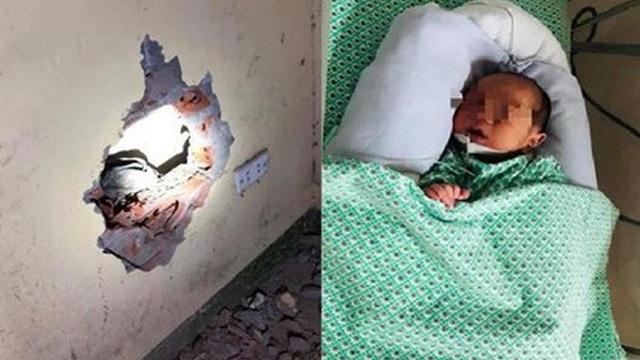 Bé trai sơ sinh bị bỏ rơi trong khe tường ở Gia Lâm đã được gia đình nhận về nuôi