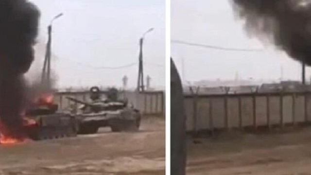 Clip: Kinh hoàng khoảnh khắc xe tăng T-72 Nga bốc cháy dữ dội