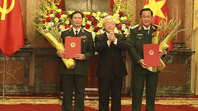 Hai Thứ trưởng Bộ Quốc phòng được Tổng Bí thư, Chủ tịch nước thăng quân hàm Thượng tướng