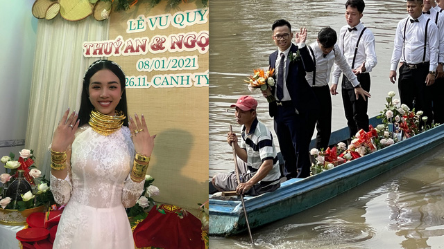 Đám cưới á hậu Thúy An: Chú rể đi xuồng vào nhà gái, cô dâu vàng đeo kín cổ