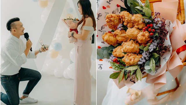 """Chàng trai quỳ gối cầu hôn bạn gái bằng """"bó hoa"""" gà rán, tiết lộ lý do đặc biệt"""