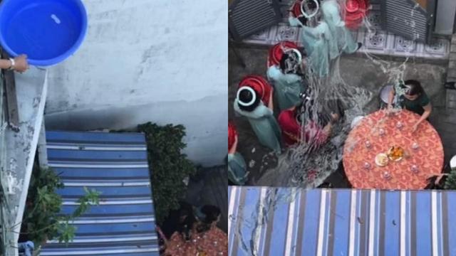 Xôn xao hình ảnh nam thanh niên đổ chậu nước từ tầng 2 xuống trúng dàn phụ dâu đang bê lễ