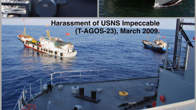Nóng: Tàu trinh sát Mỹ vào gần Hoàng Sa bị máy bay Trung Quốc diễn tập tấn công