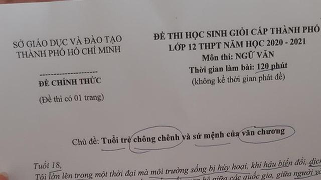 Đề thi Ngữ văn học sinh giỏi TP.HCM hỏi về tuổi trẻ chông chênh, đọc thôi mà muốn toát mồ hôi hột