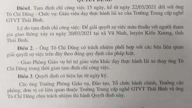 Vì sao một giáo viên dạy lái xe ở Thái Bình bị tạm đình chỉ công tác?