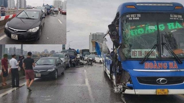 Tai nạn liên hoàn trên cầu Thăng Long, giao thông ùn tắc nghiêm trọng