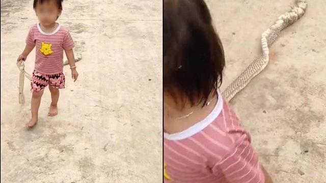 Em bé đi trên đường làng, nhìn kĩ đồ cầm ở tay, tất cả đều kinh hãi