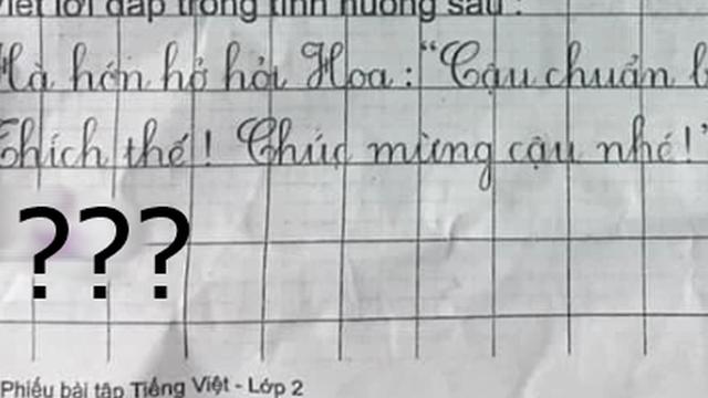 Yêu cầu viết lời đáp khi bạn bè hỏi thăm chuyến đi chơi, cậu nhóc trả lời đúng 1 từ, đọc mà tức anh ách