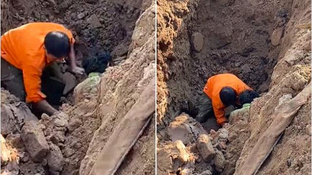 """Hà Nội: Xôn xao hình ảnh đang đào đường Tố Hữu phát hiện 1 người """"dưới lòng đất"""" ở độ sâu 2 mét"""
