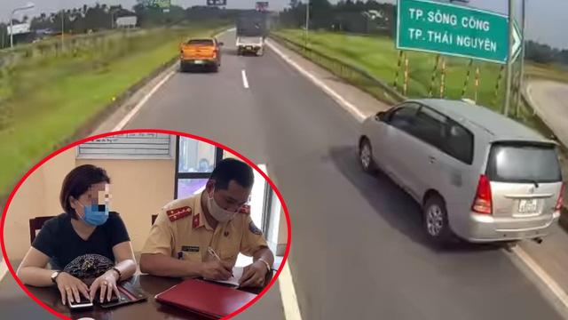 """Dân mạng chỉ ra điểm bất thường, nghi nữ tài xế """"thế thân"""" chịu phạt vụ Innova đi lùi trên cao tốc: CSGT yêu cầu bằng chứng"""