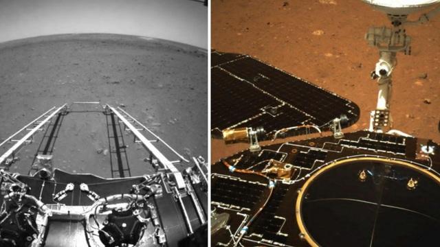 """""""Hỏa thần"""" Chúc Dung Trung Quốc gửi loạt ảnh đầu tiên từ sao Hỏa: Hành trình 90 ngày bắt đầu!"""