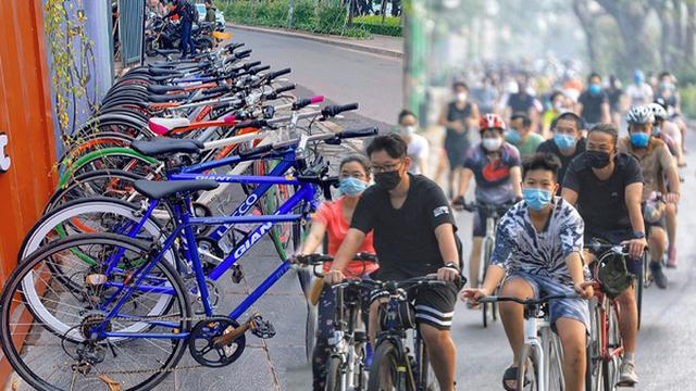 """Dịch vụ hot giữa mùa dịch: Người dân Hà Nội đổ xô lên phố thuê xe đạp, có cửa hàng """"cháy"""" đến mức 250 chiếc không đủ cung"""