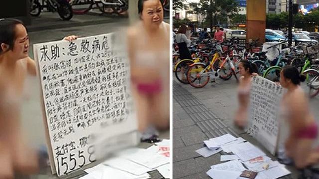 Hai người phụ nữ mặc đồ lót quỳ gối trên đường xin tiền, gây tranh cãi vì câu chuyện phía sau