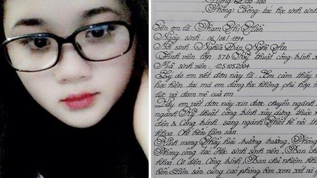 Nữ sinh 9X đẹp người, đẹp cả chữ viết