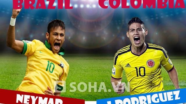 [Infographic] Brazil vs Colombia: Đến lúc rồi Neymar!