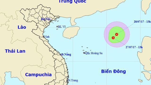 Xuất hiện vùng áp thấp trên biển Đông, gió giật cấp 7
