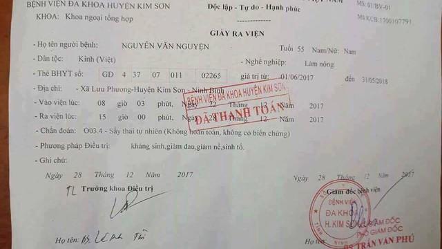 Xôn xao giấy ra viện của bệnh nhân nam bị chẩn đoán sảy thai