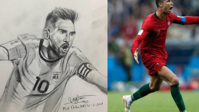 Chàng trai vẽ cầu thủ nào là ĐT nước ấy hòa hoặc thua: Chiều nay em đăng ảnh Cris Ronaldo!