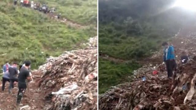 Tìm đồ chơi trong bãi rác, 2 đứa trẻ bị chôn sống
