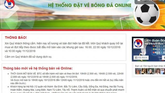 Mua vé online Việt Nam vs Malaysia: Gần 11 triệu lượt truy cập, bán 2.500 vé trong 16 phút