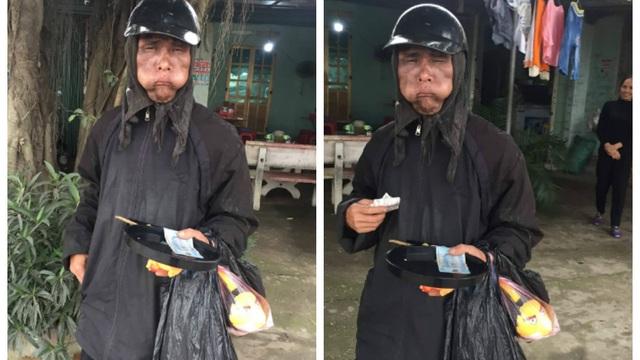 """Người chụp tiết lộ bất ngờ về bức ảnh kẻ """"mặt quỷ"""", mặc đồ đen, miệng ngậm vật phồng 2 má đi ăn xin"""