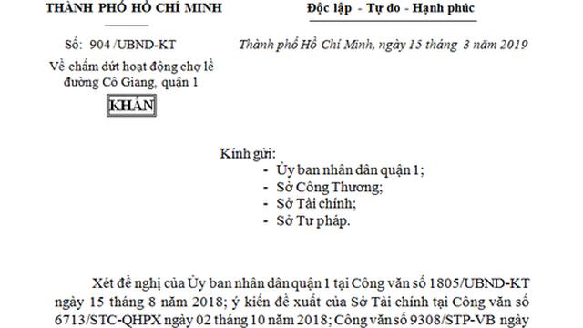 TPHCM ra công văn khẩn, 'xóa' chợ tạm Cô Giang