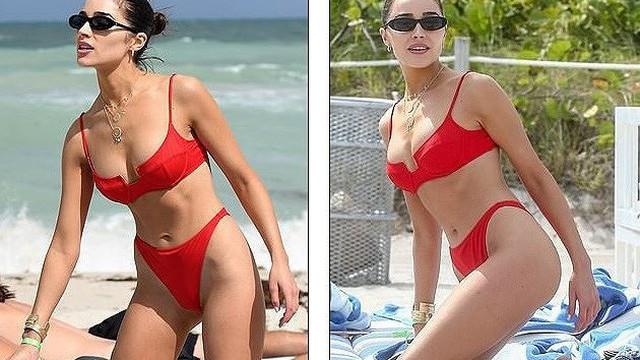 """Hoa hậu Hoàn vũ Olivia Culpo """"rực lửa"""" với bikini đỏ ở biển Miami"""