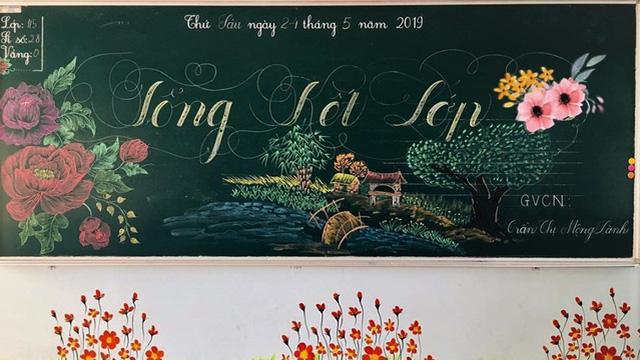 Giáo viên dành giờ nghỉ trưa thiết kế bảng tổng kết viết tay cực đẹp