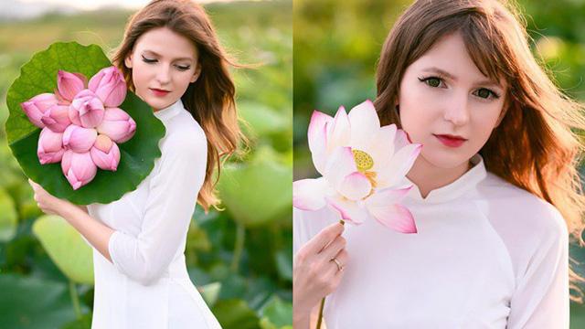 """Nữ DJ nước ngoài xinh như thiên thần, mặc áo dài thả dáng giữa hồ sen gây """"sốt"""" MXH"""