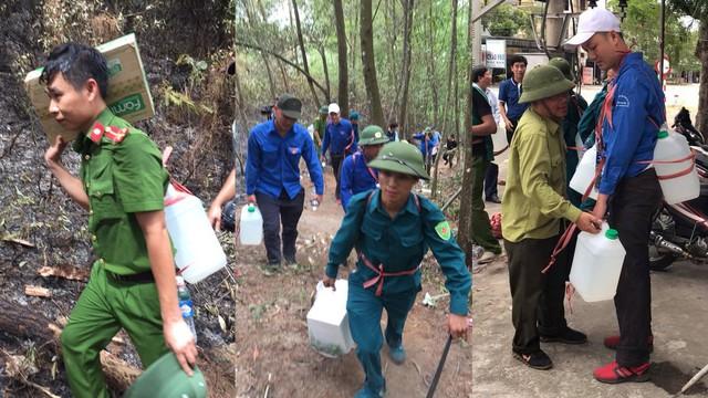 Gùi từng can nước, xách từng ổ bánh mỳ lên núi dập lửa cứu rừng ngày thứ 4