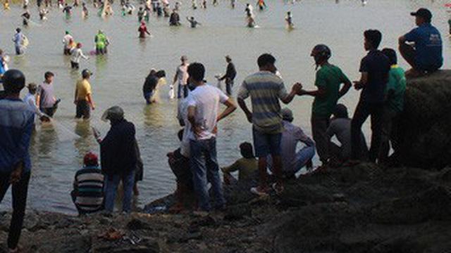 """Cấm sông, chặn 2 đầu cầu để vây bắt cá sấu """"khủng"""" xuất hiện dưới sông"""
