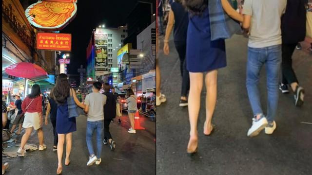 Đàm Thu Trang đi chân đất, nắm tay Cường đô la trên đường phố