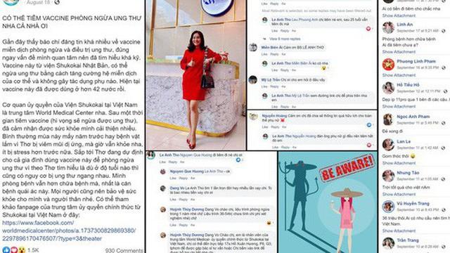 """Facebook vợ diễn viên Bình Minh quảng cáo cho loại """"vaccine phòng ngừa ung thư"""" bị thổi phồng quá mức"""