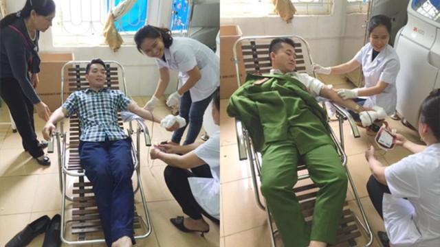 Hai chiến sĩ công an vào bệnh viện hiến máu cứu thai phụ